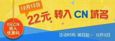 12月12日22元转入CN域名!